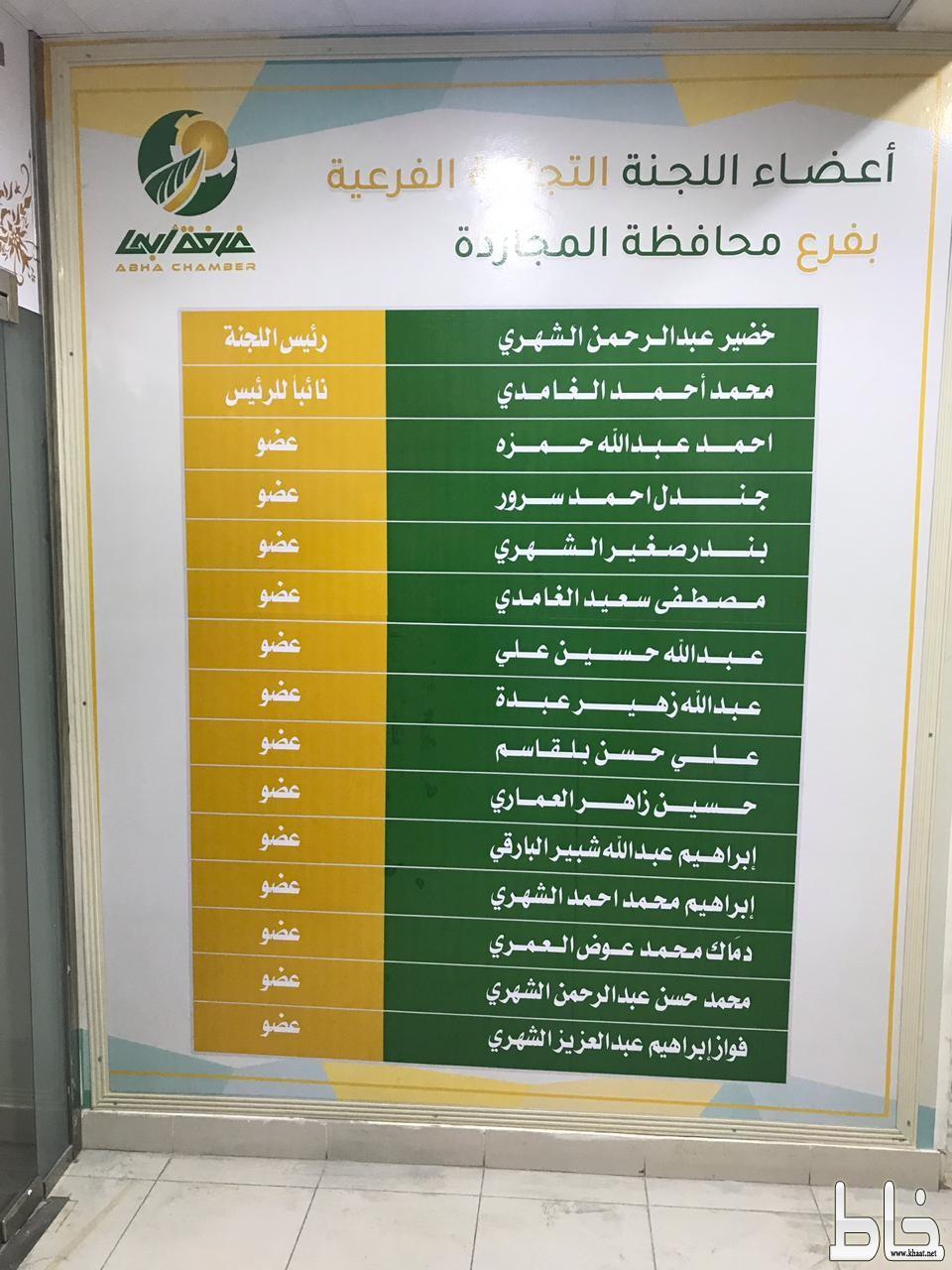 الغرفة التجارية بالمجاردة تضع أسماء أعضاء اللجنة التجارية في المدخل الرئيسي