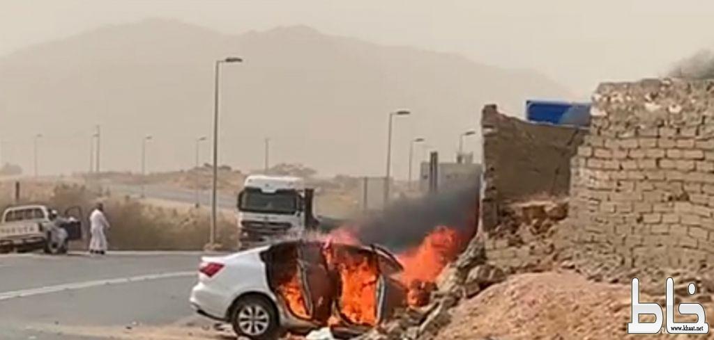 وفاة إمرأة وإصابة أخرى أثر احتراق مركبتهم في حادث أليم بمركز أحد ثربان غرب المجاردة