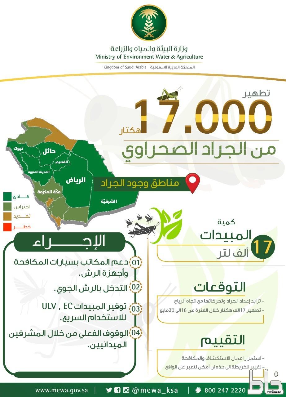 """""""البيئة"""" تكافح الجراد الصحراوي في مساحة 17000 هكتار"""