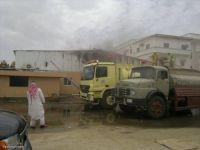 بالصور .. حريق في قسم الصيانة المجاور لإدارة تعليم النماص