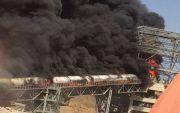 حريق هائل بأحد خطوط اﻷنتاج بمصنع أسمنت تهامه بمحافظة العرضيات .