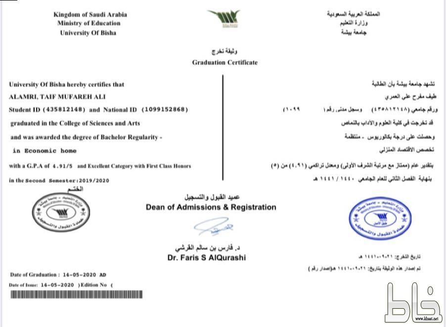طيف مفرح حبسان تحصل على بكالوريوس الاقتصاد المنزلي مع مرتبة الشرف الأولى من جامعة بيشة
